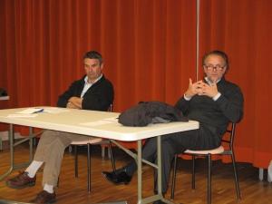 """Patrick Cotton (viticulteur """"bio"""") et Bruno Roche (professeur de philosophie)"""